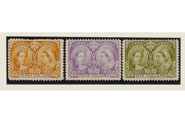 Canada: 1897 Jubilee ½c. to $5 set (less 3c.) mint (some heavy), fresh colours and mainly well centred. (328)