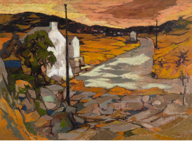 John Elwyn (British, 1916-1997) Landscape with road leading towards a village,