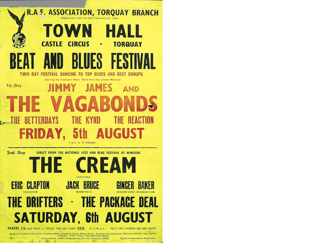 A very early Cream concert poster, 6th August 1966,
