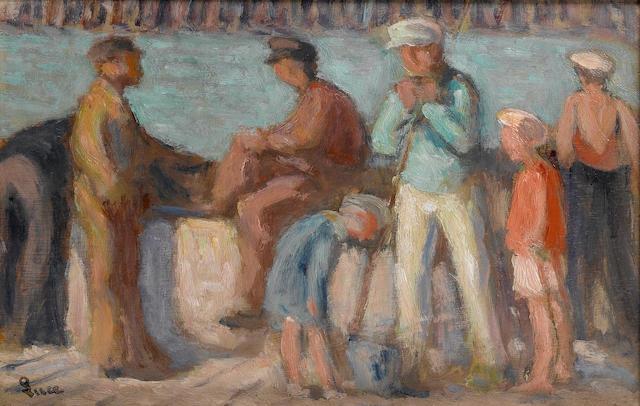 Maximilien Luce (French, 1858-1941) Le Tréport, Matelots sur le Quai, 1935 20.5 x 30.5 cm (8 1/16 x