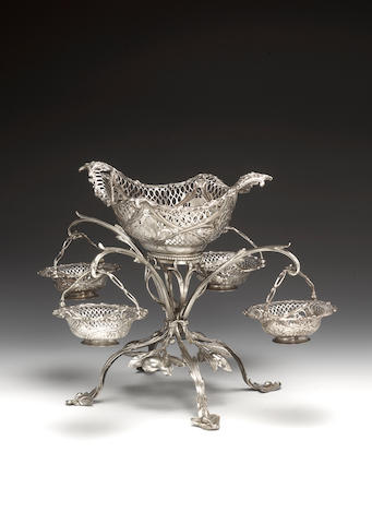 An early George III silver four branch epergne, by Thomas Pitts I, London 1769,