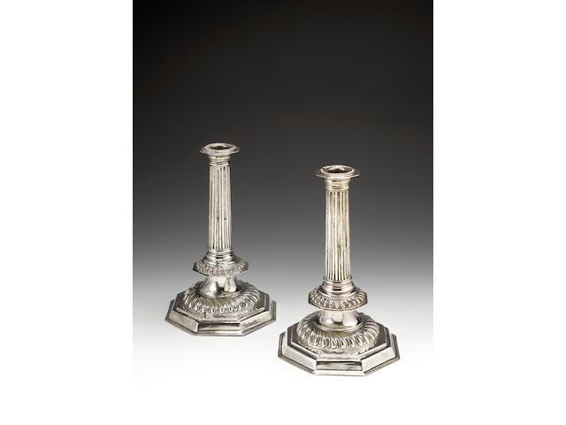 A pair of William III silver candlesticks, by John Barnard I,  London 1698,
