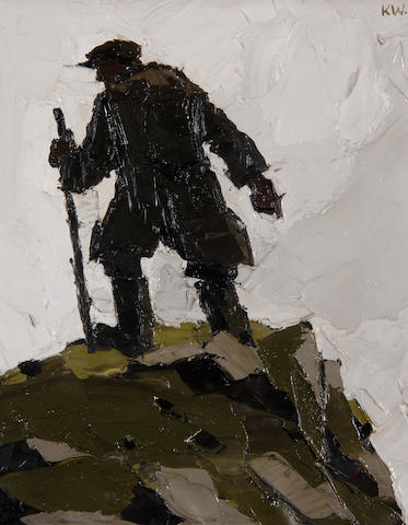 Sir Kyffin Williams  (British, 1918-2006) Welsh Hill Farmer,