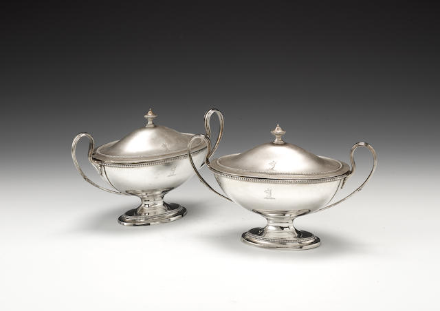 A pair of George III silver two-handled sauce tureens and covers, by Carter, Smith & Sharp, London 1781,