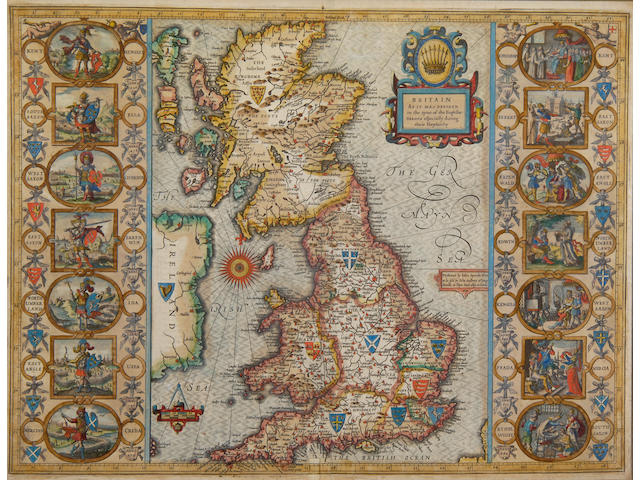 GREAT BRITAIN - HEPTARCHY SPEED (JOHN) Britain as it was Devided in the Tyme of the Englische Saxons