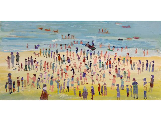 Fred Yates (British, born 1922) Crowded beach scene,