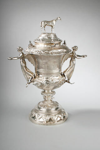 A mid Victorian Australian racing trophy and cover by Jocalm Wendt, Adelaide, Circa 1865,