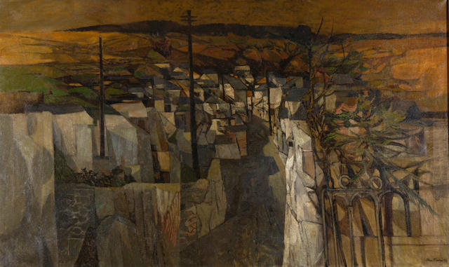 John Elwyn (British, 1916-1997) View of a town with valley extending beyond,