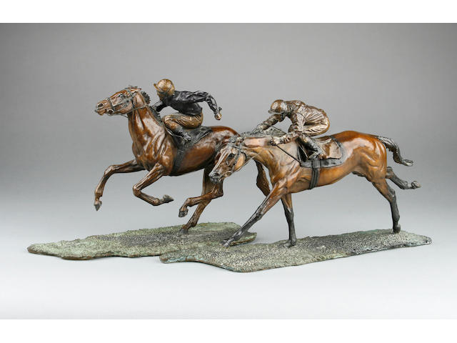 "Judith Boyt (Born 1954): ""Race to the Finish""; A pair of Limited Edition cold-painted bronzes of galloping racehorses and riders"