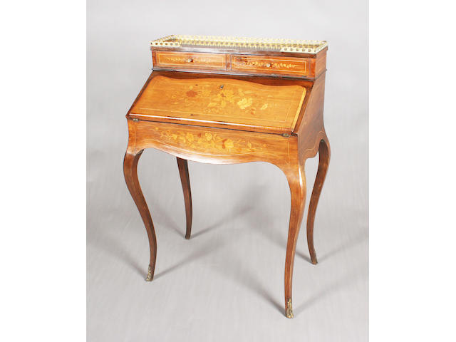 A late 19th century French rosewood and floral marquetry bureau-de-dame