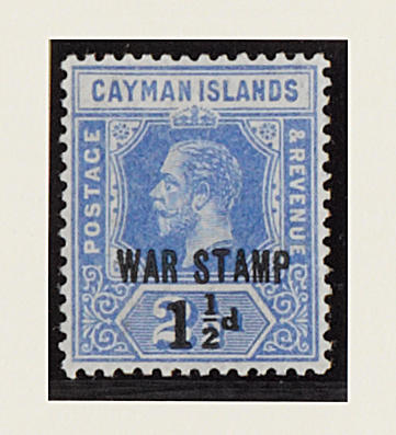 Cayman Islands: 1917 (Sept.) War Stamp 1½d. on 2½d. opt. type 16 mint, light gum bend otherwise fine and fresh, Holcombe opinion (1995). SG 55, £750. (205)