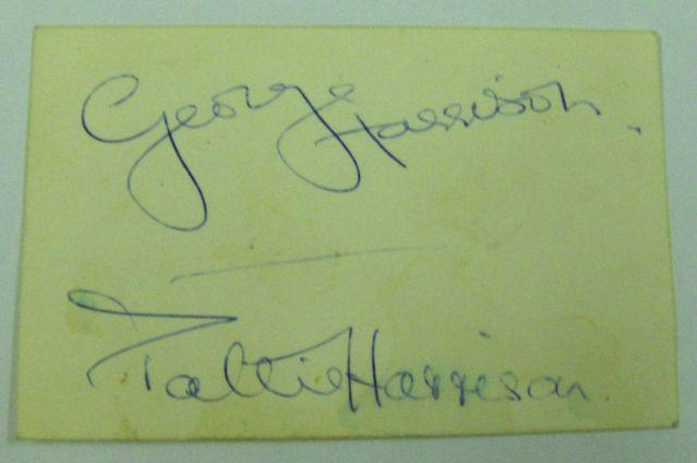 George and Pattie Harrison autographs, 1960s,