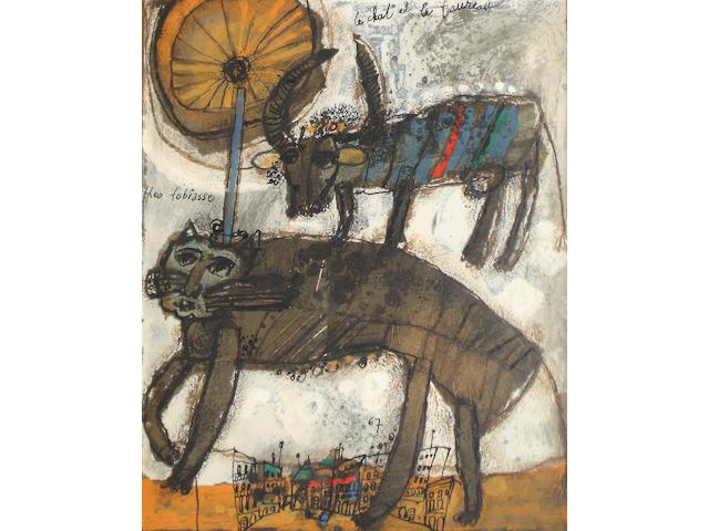 Théo Tobiasse (Israeli/French, b.1927) 'Le chat et le taureau'
