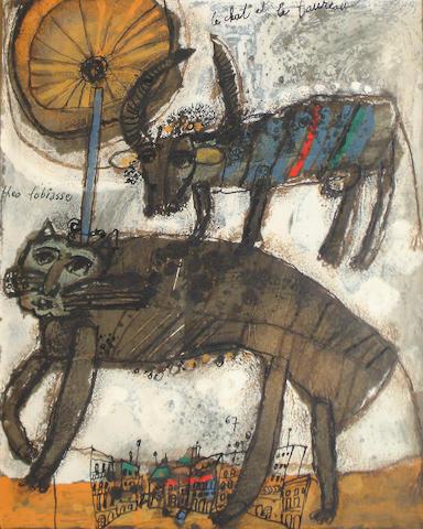 Théo Tobiasse (Israeli/French, born 1927) 'Le chat et le taureau'