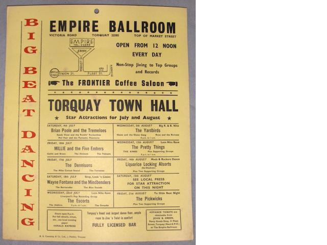 A window card for the Yardbirds and others at the Empire Ballroom, Torquay, July/August 1964,