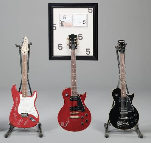 A collection of three autographed guitars, Lenny Kravitz, BB King and AC/DC, 3