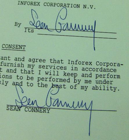 A Sean Connery signed contract,