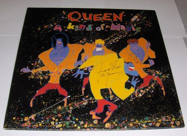 A signed copy of the album 'A Kind Of Magic' by Queen,