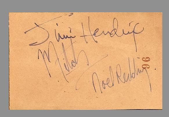 A set of Jimi Hendrix Experience autographs, circa 1967,