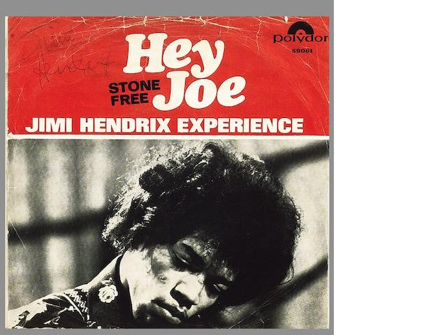 An autographed copy of the single 'Hey Joe'/'Stone Free',