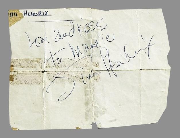 A Jimi Hendrix autograph,