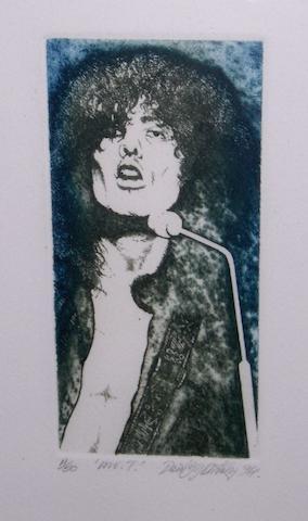 David Oxtoby: prints of Marc Bolan, Jim Capaldi and Ray Sawyer, 1970s,