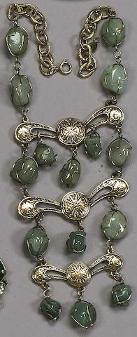 A gold finished and green stone necklace, reported to be the former property of Lauren Bacall,