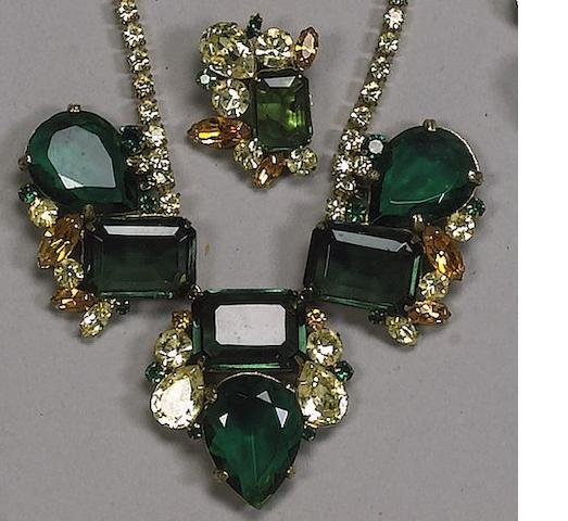 A necklace and earring set,  reported to be the former property of Marlene Dietrich,