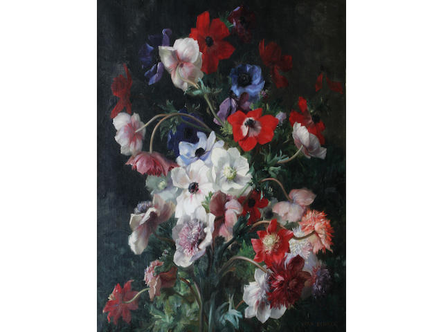 Jean Benner (French, 1836-1909) White, red and blue anenomes