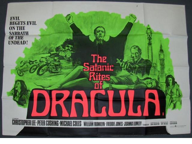 A collection of five Hammer Films UK Quad posters, including;