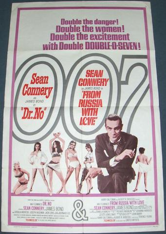 Dr. No and From Russia With Love double-bill US one-sheet poster, United Artists, 1965,