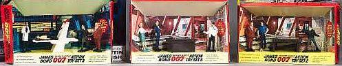 Three Gilbert James Bond Action Toy Sets, including numbers 2, 5, and 5;