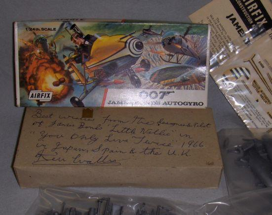 "A James Bond's Autogyro Airfix Kit, 1967, a 1/24 scale model of ""Little Nellie"" as featured in You Only Live Twice, 1967, autographed by designer and pilot, Ken Wallis,"