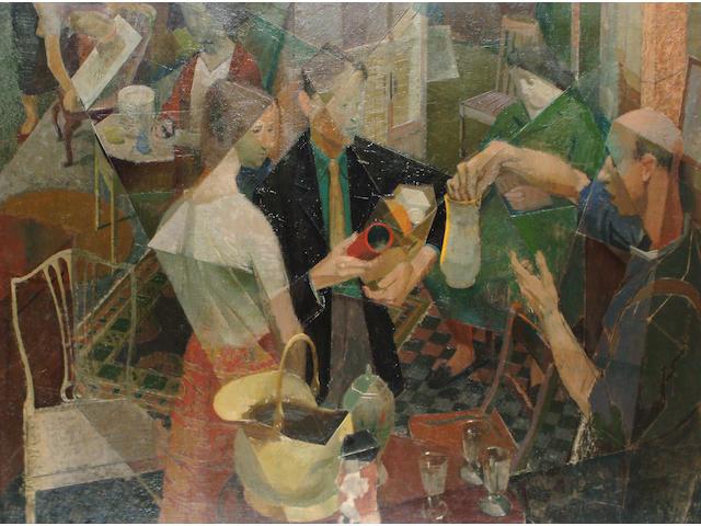 Norman Blamey (British, 1914-2000) Parish Bazaar (hand written label verso says Exhibited Royal Academy 1949)