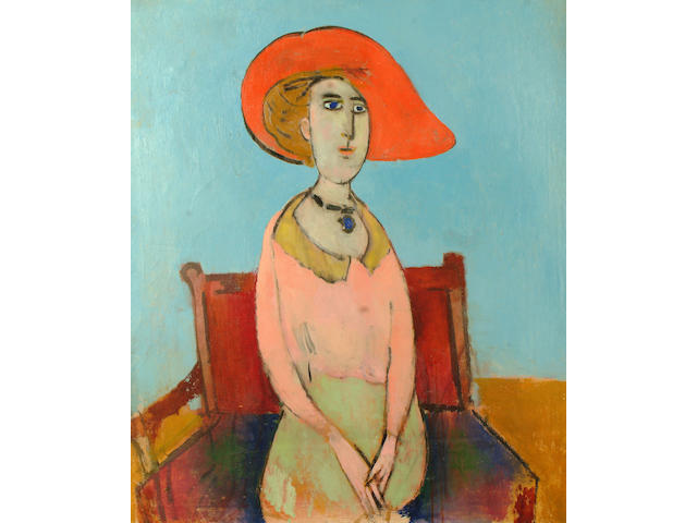 Stella  Steyn (British, 1907-1987) Seated woman in a red hat (The model is depicted seated on a Gerrit Rietveld chair, a reference to her days spent at the Bauhaus from 1931-1932)