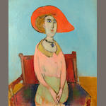 Stella  Steyn (British, 1907-1987) Seated woman in a red hat