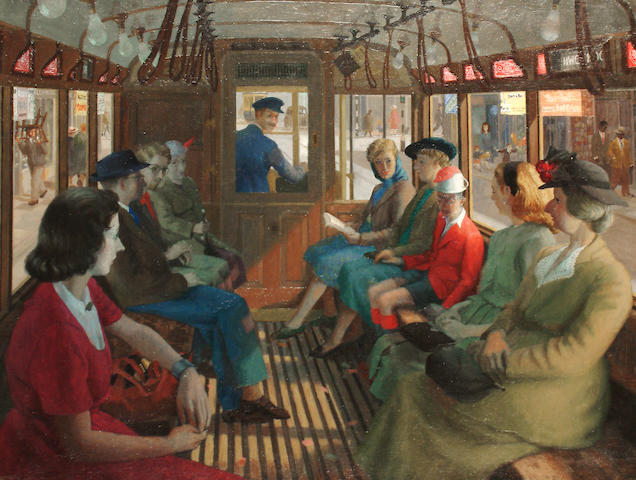 Robert Saunders (British, 20th Century) The tram ride