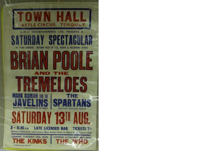 Six various concert posters, 1960s,
