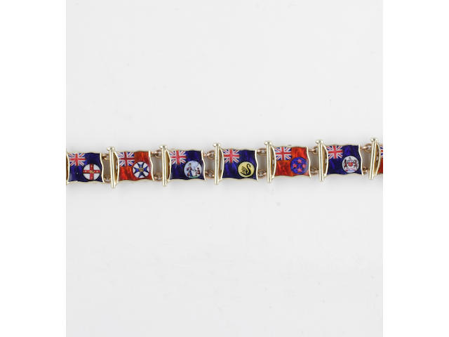 A 15ct gold enamel flag bracelet