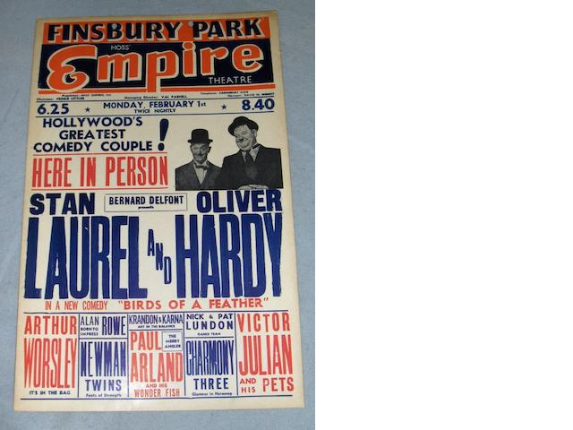 A Laurel and Hardy UK Tour Theatre Box Office card, from the Moss Empire Theatre, Finsbury Park, London,