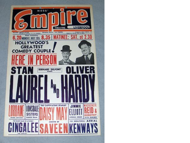 A Laurel and Hardy UK Tour Theatre Box Office card, from the Moss Empire Theatre, Liverpool,