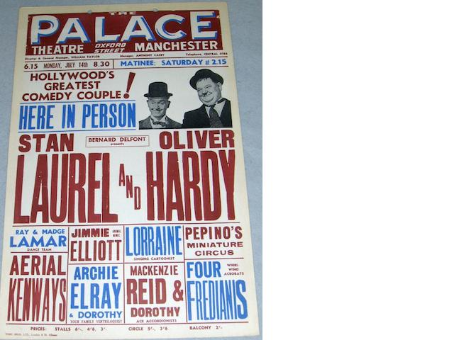 A Laurel and Hardy UK Tour Theatre Box Office card, from The Palace Theatre, Manchester,