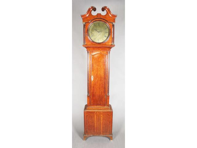A George III oak, mahogany and crossbanded longcase clock