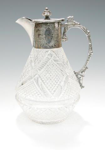 An electroplate mounted claret jug