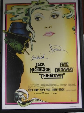 A collection of four autographed film posters, including Raging Bull, One Flew Over the Cuckoo's Nest, China Town and Raging Bull,4