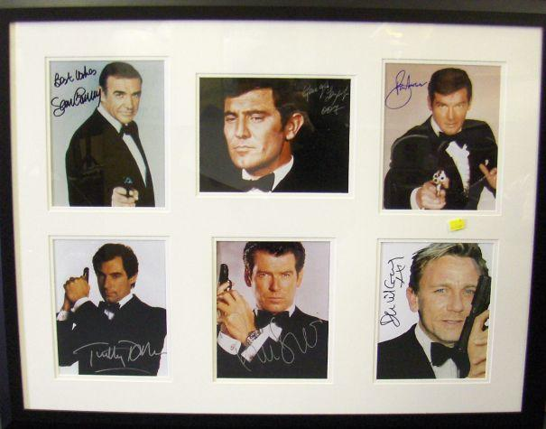 A collection of autographs of the six actors to play James Bond, each being a signed colour 10 x 8 still,