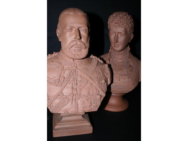 A pair of late 19th century terracotta busts
