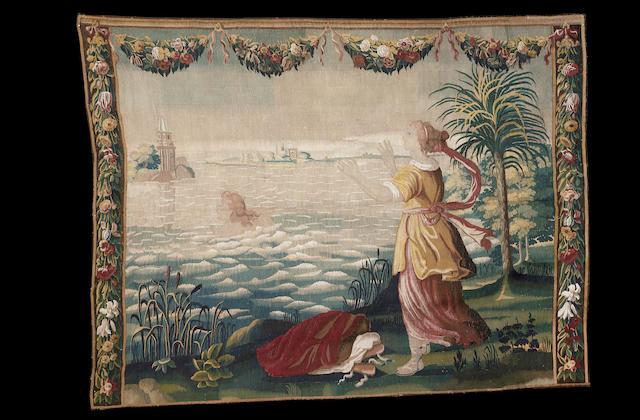 A late 17th century Soho tapestry England, after the design by Francis Cleyn, 338cm high, 236cm wide, restoration.