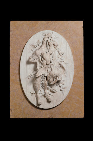 An Italian finely carved white marble Nature-MorteBy A. Soldini, Third quarter 19th century
