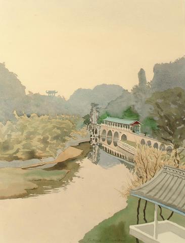 Patrick Procktor, R.A., R.W.S. (British, 1936-2003) Japanese bridge
